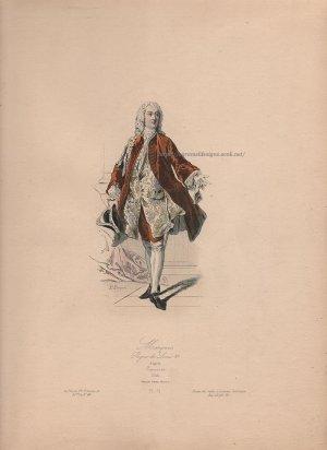 画像3: 1800年代、フランス、ファッションプレート 銅版画  ルイ15世時代の侯爵像