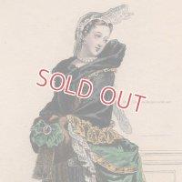 1800年代、フランス、ファッションプレート 銅版画  スカーフをまとう貴婦人