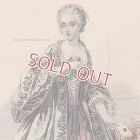 1800年代、フランス、ファッションプレート 銅版画  デュバリー伯爵夫人