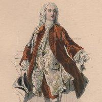 1800年代、フランス、ファッションプレート 銅版画  ルイ15世時代の侯爵像