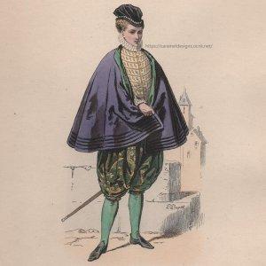 画像2: 1800年代、フランス、ファッションプレート 銅版画  シャルル9世時代