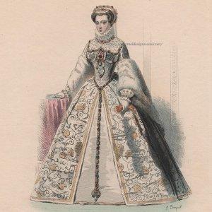 画像2: 1800年代、フランス、ファッションプレート 銅版画  シャルル9世時代ファッション