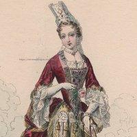 1800年代、フランス、ファッションプレート 銅版画  ルイ14世時代、公爵夫人像