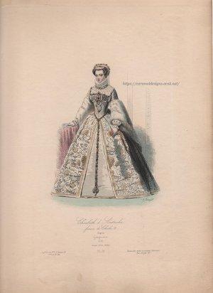 画像3: 1800年代、フランス、ファッションプレート 銅版画  シャルル9世時代ファッション
