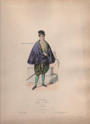 画像3: 1800年代、フランス、ファッションプレート 銅版画  シャルル9世時代