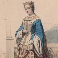 1800年代、フランス、ファッションプレート 銅版画  シャルル6世時代のお姫様