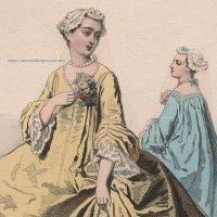 1800年代、フランス、ファッションプレート 銅版画  ルイ15世時代のファッション