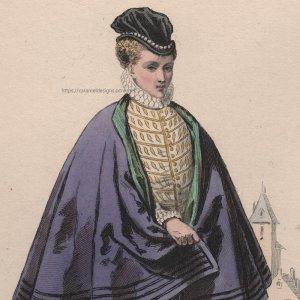 画像1: 1800年代、フランス、ファッションプレート 銅版画  シャルル9世時代
