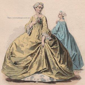 画像2: 1800年代、フランス、ファッションプレート 銅版画  ルイ15世時代のファッション