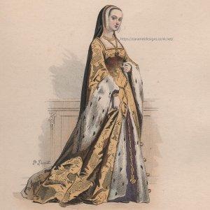 画像2: 1800年代、フランス、ファッションプレート 銅版画  ルイ12世時代