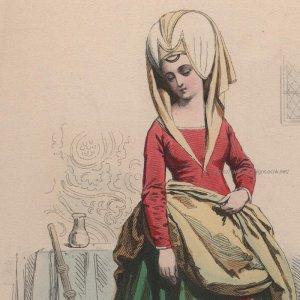 画像1: 1800年代、フランス、ファッションプレート 銅版画  シャルル7世時代 召使い