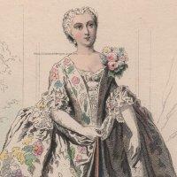 1800年代、フランス、ファッションプレート 銅版画  ルイ15世時代のパリモード