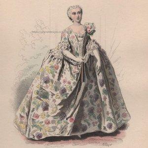 画像2: 1800年代、フランス、ファッションプレート 銅版画  ルイ15世時代のパリモード