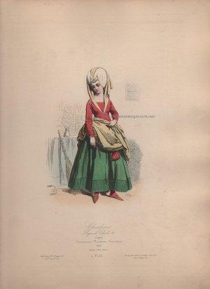 画像3: 1800年代、フランス、ファッションプレート 銅版画  シャルル7世時代 召使い