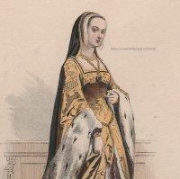 1800年代、フランス、ファッションプレート 銅版画  ルイ12世時代