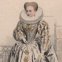 1800年代、フランス、ファッションプレート 銅版画  アンリ4世時代