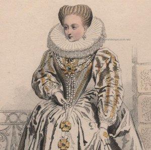 画像1: 1800年代、フランス、ファッションプレート 銅版画  アンリ4世時代