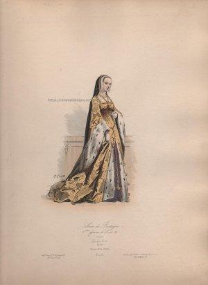 画像3: 1800年代、フランス、ファッションプレート 銅版画  ルイ12世時代