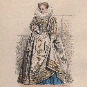 画像2: 1800年代、フランス、ファッションプレート 銅版画  アンリ4世時代