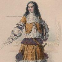 1800年代、フランス、ファッションプレート 銅版画  ルイ14世時代、貴公子