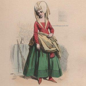 画像2: 1800年代、フランス、ファッションプレート 銅版画  シャルル7世時代 召使い