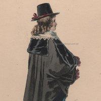 1800年代、フランス、ファッションプレート 銅版画  ルイ13世時代