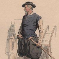 1800年代、フランス、ファッションプレート 銅版画  アンリ三世時代