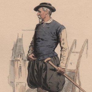 画像1: 1800年代、フランス、ファッションプレート 銅版画  アンリ三世時代
