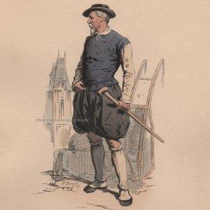 画像2: 1800年代、フランス、ファッションプレート 銅版画  アンリ三世時代
