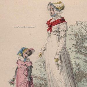 画像1: 1800年代、フランス、ファッションプレート 銅版画  フランス帝国時代