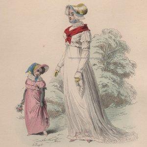 画像2: 1800年代、フランス、ファッションプレート 銅版画  フランス帝国時代