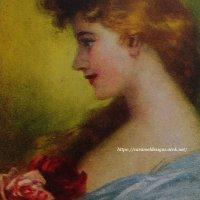 アンティークカード 薔薇とレディ