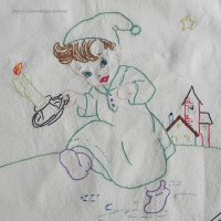 【未完成】ヴィンテージ刺繍・図案コットン地 134cm x 98cm