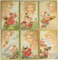 アンティークカード6枚セット、天使と美しいレディ