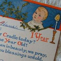 アンティークカード、1歳のお誕生日