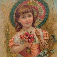 パラソルとポピーのブーケを持つ少女 トレードカード