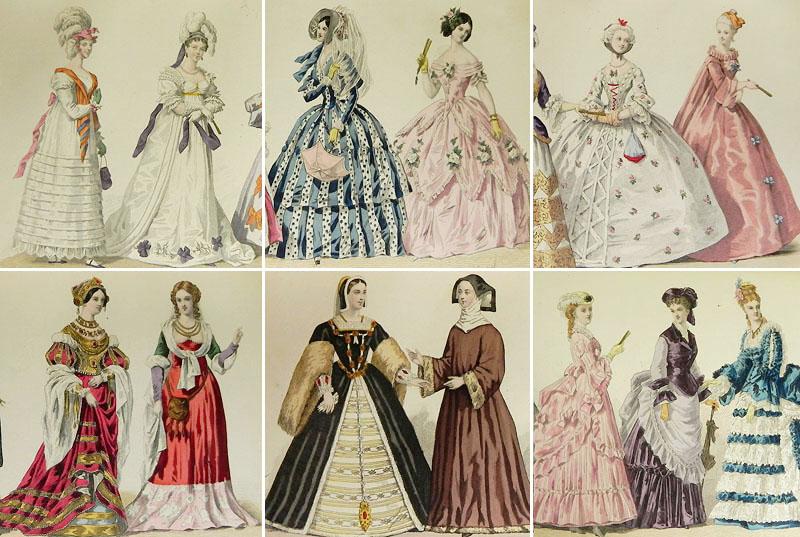 1875年フランス・モード史/BOOK、ファッションプレート16枚入り [FRENCH001]